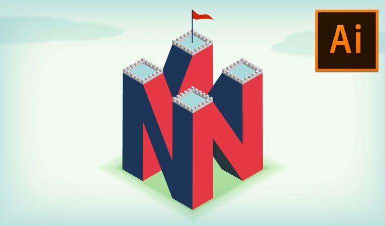 4D Letter Logo/Illustration in Illustrator from Vector Slate