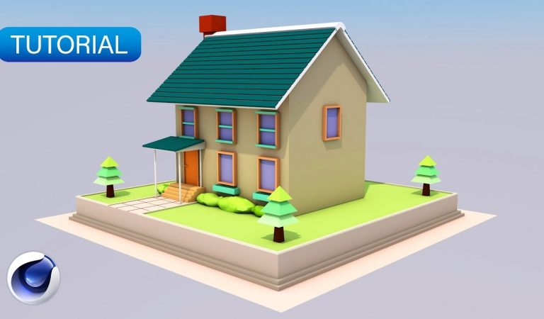 Low Poly Simple Cute House in Cinema 4D from Fattu Tutorials