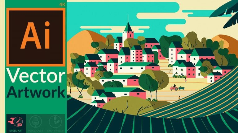 Making a flat scenery artwork in Adobe Illustrator from Digital Art Creation