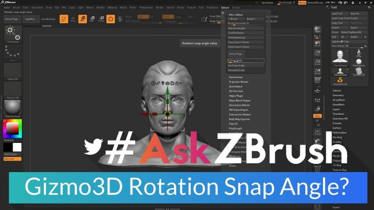"""#AskZBrush: """"How can I set the rotation snap angle for the Gizmo3D?"""" in ZBrush from Pixologic"""