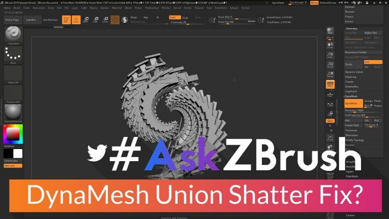 """#AskZBrush: """"How can I fix DynaMesh shattering using Remesh by Union?"""" in ZBrush from Pixologic"""