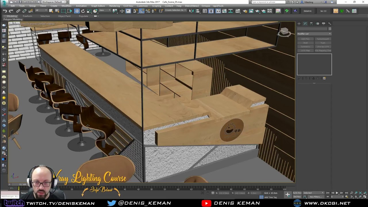Cafe Shop Live Stream 07- Modeling The Lighting And Filler Items in 3ds Max from Denis Keman