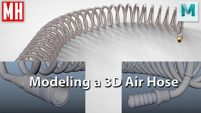 How to Model a Compressor Pneumatic Air Hose with Fittings in Maya from Mike Hermes